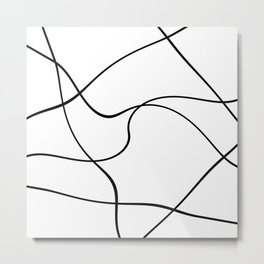 """Abstract lines"" - Black on white Metal Print"
