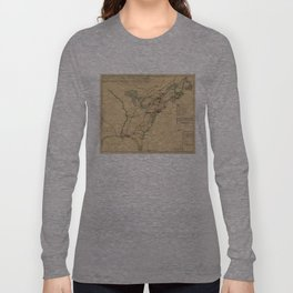 Vintage British Occupation Map of America (1765) Long Sleeve T-shirt