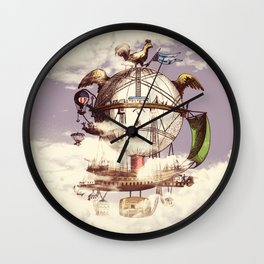 Drifting Through the Clouds Wall Clock