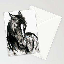Play of Light - Black and white horse painting Stationery Cards