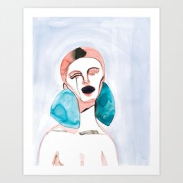 Lizzy - Red Hair, Black Lips Art Print