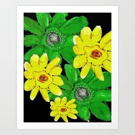 GREEN & YELLOW FLORAL Art Print