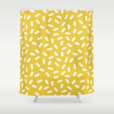 Somethin' Somethin' - yellow bright happy sprinkles pills dash pattern rad minimal prints Shower Curtain