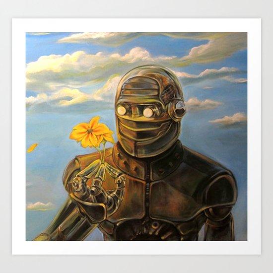 Robot & Flower Art Print