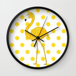Yellow Flamingo  - Bird Wall Clock