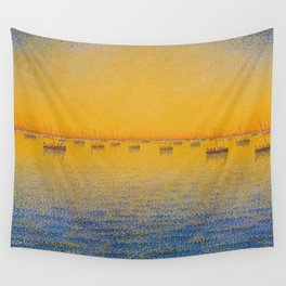 Classical Masterpiece 'Setting Sun and Boats' by Paul Signac Wall Tapestry