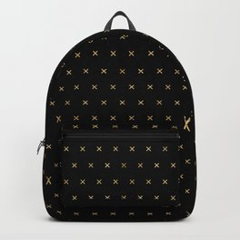 Black and Gold X cross sign pattern Backpack