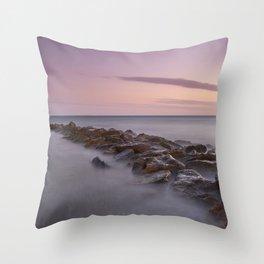 Seawall. Purple Sunset Throw Pillow