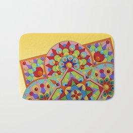 Chartres Mandala - yellow ground Bath Mat