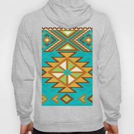 Native Aztec Tribal Turquoise Rug Pattern Hoody