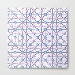 Lovely Geometric Pastel Cat Pattern Metal Print
