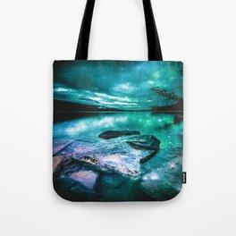 Magical Mountain Lake Mint Green Lavender Tote Bag