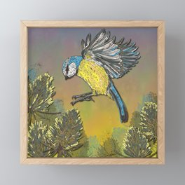 Blue Tit and Teasels Framed Mini Art Print