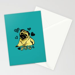 Adorable Puppy Pug on teal with hearts Stationery Cards