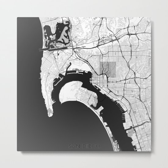 San Diego Map Gray Metal Print