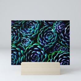 Succulent Garden teal green purple Mini Art Print