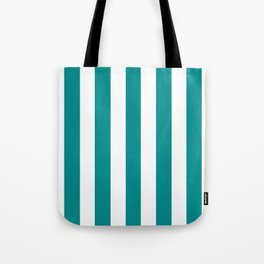 Dark cyan green - solid color - white vertical lines pattern Tote Bag
