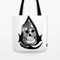 assassins creed Tote Bags featuring assassins creed logo by  Steve Wade ( Swade)