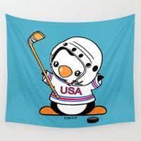 hockey Wall Tapestries featuring Ice Hockey Penguin by joanfriends