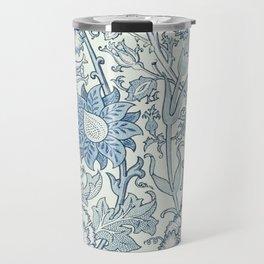 William Morris Beautiful floral pattern, blue,rose,william Morris pattern, art nouveau pattern Travel Mug