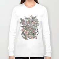 preppy Long Sleeve T-shirts featuring Modern green pink floral handdrawn pattern by Girly Trend