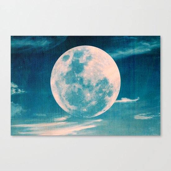 Full moon - Blue Canvas Print