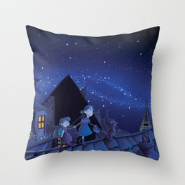 the night on the roofs of Paris Throw Pillow