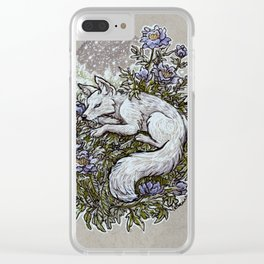 Snowfall Peonies and Arctic Fox Clear iPhone Case