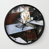degas Wall Clocks featuring Degas' Goat Drinking Absinthe  by MollyK