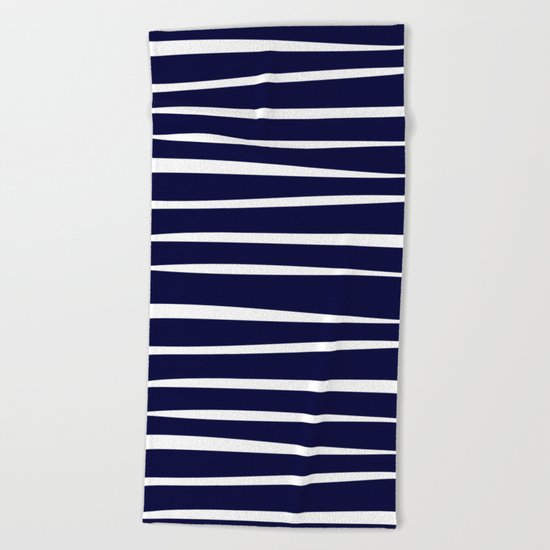 Blue- White- Stripe - Stripes - Marine - Maritime - Navy - Sea - Beach - Summer - Sailor 4 Beach Towel