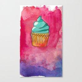 Watercolor Cupcake Canvas Print
