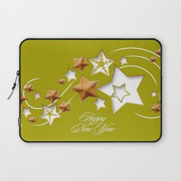 Olive and Umber Happy New Year Shooting Stars  Laptop Sleeve