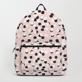 Hand drawn white and black drops and dots on pink Backpack