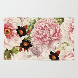 Vintage & Shabby Chic Pink Floral Peonies Flowers Watercolor Pattern Rug