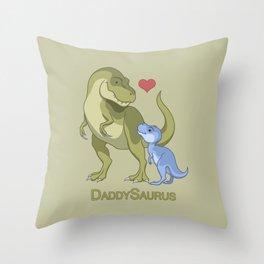 DaddySaurus T-Rex Father & Baby Boy Dinosaurs Throw Pillow