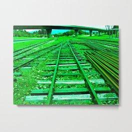 GREEN TRAIN HARD Metal Print