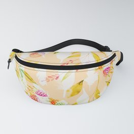 Spring Flowers and Feathers Pattern Fanny Pack