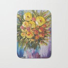 Bright Flowers Painting, Yellow Flowers artwork, floral art Bath Mat