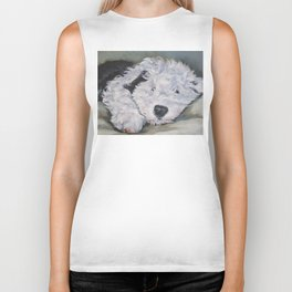 OES Old English Sheepdog dog art portrait from an original painting by L.A.Shepard Biker Tank