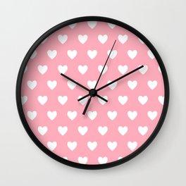 Pretty Pink Heart Pattern Wall Clock