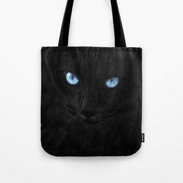 Black Cat, Blue Eyes Tote Bag