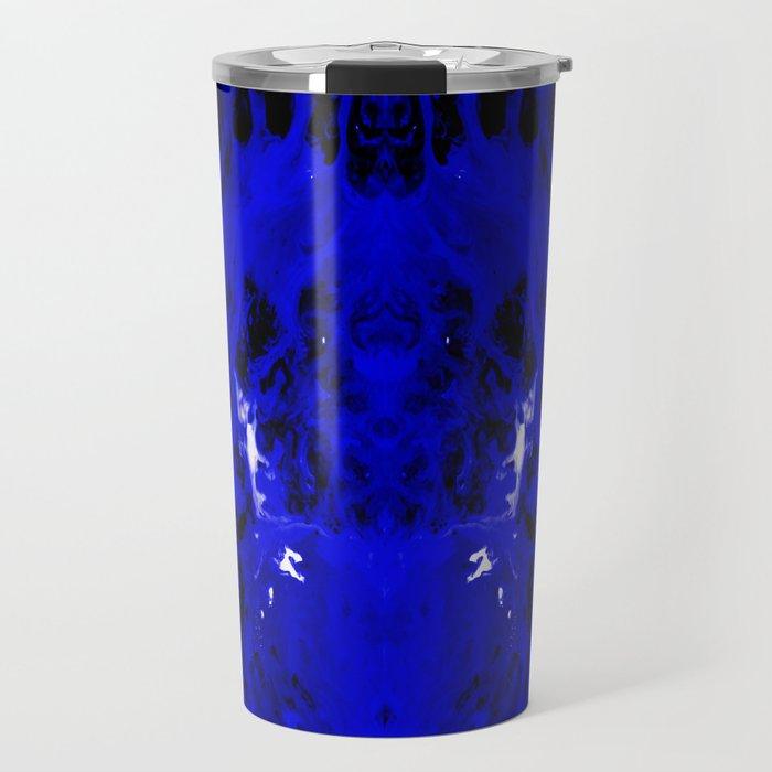 Abstract, Blue, Black, White (CA17018DM) Travel Mug