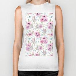 Mauve pink lilac green watercolor cactus roses floral Biker Tank
