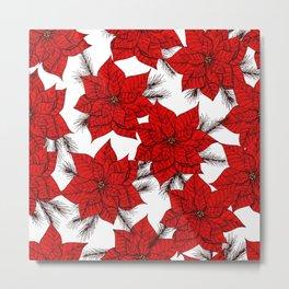 Poinsettia Christmas pattern Metal Print