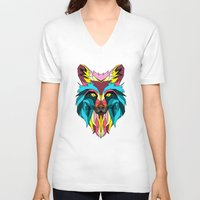 animals V-neck T-shirts featuring animals by mark ashkenazi