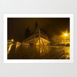 Lakenhalle la nuit Art Print