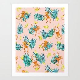 Tropical Monkey Banana Bonanza on Blush Pink Art Print