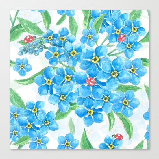 Forget me not seamless floral pattern Canvas Print