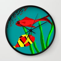 scuba Wall Clocks featuring Scuba Diver by Happy Fish Gallery