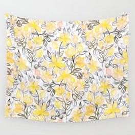 Sunny Yellow Crayon Striped Summer Floral Wall Tapestry